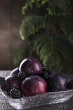 Nya frukter på en genomskinlig platta royaltyfri fotografi