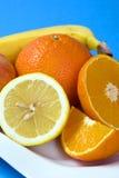 nya frukter plate white Arkivfoto