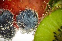 Nya frukter simmar i vattnet royaltyfria bilder