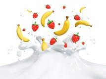 Nya frukter som faller in i den mjölkaktiga färgstänket, mjölkar tolkningen 3d Arkivbilder