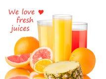 Nya fruktsafter med frukter Fotografering för Bildbyråer