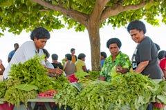 Nya grön sallad och grönsaker i skugga av sidor av ett träd på tropisk marknad på ön i Stilla havet Fotografering för Bildbyråer