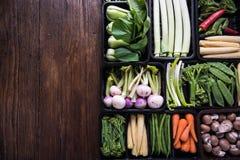Nya grönsaker för bondemarknad, matbakgrund Arkivbilder