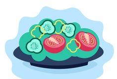 Nya grönsaker för sallad i lägenheten för begrepp för livsstil för gurka för bunkepeppartomat den horisontalsunda vektor illustrationer
