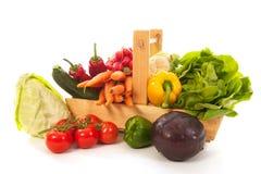 Nya grönsaker för skördkorg Fotografering för Bildbyråer