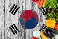 Nya grönsaker från Sydkorea på tabellen Laga mat begrepp p? tr?flaggabakgrund royaltyfria foton