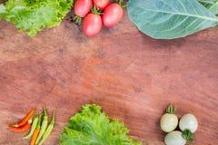 Nya grönsaker, grönsallat, tomat, kinesisk grönkål och chili Fotografering för Bildbyråer