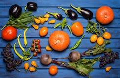 Nya grönsaker och frukt på blå träbakgrund arkivfoto