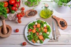 Nya grönsaker och lax som ingredienser för sallad Arkivfoto
