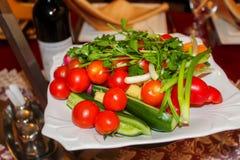Nya grönsaker på en maträtt i restaurangen: gurkor körsbärsröda tomater, koriander, salladslökar, spanska peppar arkivbild