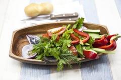 Nya grönsaker på en träplatta med gaffeln och kniven Röd peppar, tomaten, gurkan, rädisan, persilja, sund dill bantar Arkivfoto