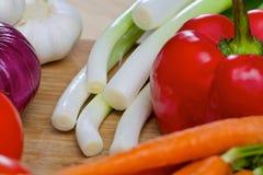 Nya grönsaker på ett träbräde Royaltyfri Foto