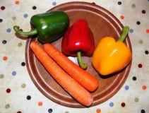 Nya grönsaker på retro bordduk Royaltyfria Bilder