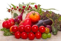 Nya grönsaker på säckväv Royaltyfria Foton