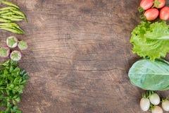 Nya grönsaker på träbakgrund Fotografering för Bildbyråer