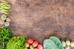 Nya grönsaker på träbakgrund Royaltyfri Foto