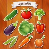 Nya grönsaker på träbakgrund Grönsaksymbol Grönsakklistermärke Strikt vegetarianmat Gurka tomat, broccoli, aubergine, cabbag Royaltyfria Foton