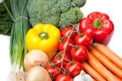Nya grönsaker på vit bakgrund, Arkivfoton