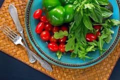 Nya grönsaker, salladarugula, basilika, körsbärsröda tomater, paprika Fotografering för Bildbyråer