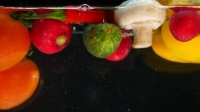 Nya grönsaker som faller med vatten på svart bakgrund arkivfoton