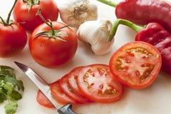Nya grönsaker som gör salsa Royaltyfria Bilder