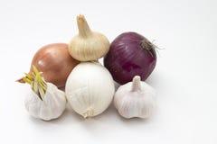 Nya grönsaker vitlök och lökar som isoleras på Royaltyfri Fotografi