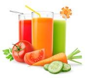 Nya grönsakfruktsaftar royaltyfria foton