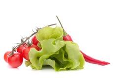 Nya grönsallatsalladsidor samlar ihop och den körsbärsröda tomaten Arkivbilder