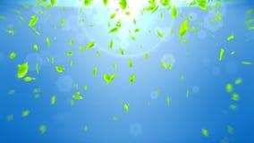 Nya gr?na sidor som faller p? bl? bakgrund Cg-bladkonfettier ?glasanimering royaltyfri illustrationer