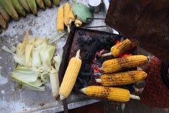 Nya grillade eller grillade majskolvar Grillad havre som är till salu på gatan Royaltyfria Bilder