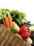 Nya grönsaker för korg Royaltyfria Bilder