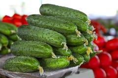 Nya gurkor i marknad Arkivfoto