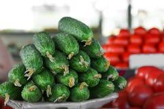 Nya gurkor i marknad Royaltyfria Bilder