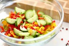 Nya högg av Chili Pepper Cucumber Salad Bowl fotografering för bildbyråer