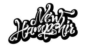 Nya Hampshir etikett Modern kalligrafihandbokstäver för serigrafitryck Arkivbilder