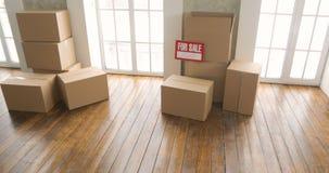 Nya hem- ägare som packar upp askar rörande dagbegrepp stora kartonger i nytt hem