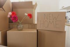 Nya hem- ägare som packar upp askar, stora kartonger i nytt hem Flytta sig till ett nytt lägenhetbegrepp Arkivfoto