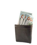 Nya hundra dollarräkningar i plånbok Royaltyfria Bilder