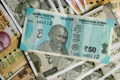 Nya indiska för 50, för 200 och 500rupier för valuta, noterar som bakgrund royaltyfri fotografi