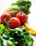 Nya ingredienser för grön sallad på trä Royaltyfria Bilder