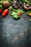 Nya ingredienser för smaklig matlagning- och salladdanande på mörk lantlig bakgrund, bästa sikt arkivbild