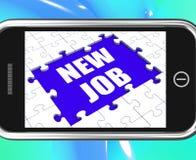 Nya Job Tablet Means Different Workplace eller ockupation Royaltyfri Bild