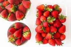 Nya jordgubbar, bästa sikt, i vit bakgrund arkivfoton
