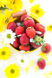 Nya jordgubbar i gul hink Arkivfoto