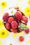 Nya jordgubbar i gul hink Arkivbild