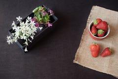 Nya jordgubbar i mini- röd bunke på hessiansjute Vit och lilan blommar i en dekorativ träspjällåda Svart bakgrund royaltyfri foto