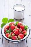 Nya jordgubbar och mjölkar Arkivbilder