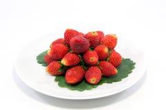 Nya jordgubbar på vit pläterar Fotografering för Bildbyråer