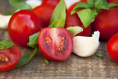 Nya körsbärsröda tomater på lantligt träbräde Basilikasidor och vitlök i bakgrunden sunda ingredienser för mat royaltyfri foto