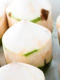 Nya kokosnötter i marknaden, väljer fokusen Arkivfoto